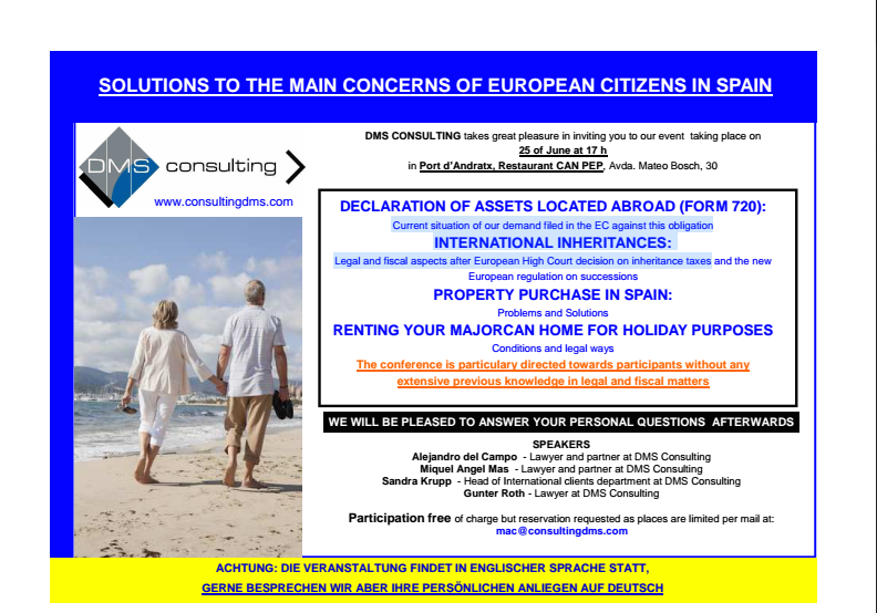 DMS informs foreign residents in Majorca about taxation and holiday renting