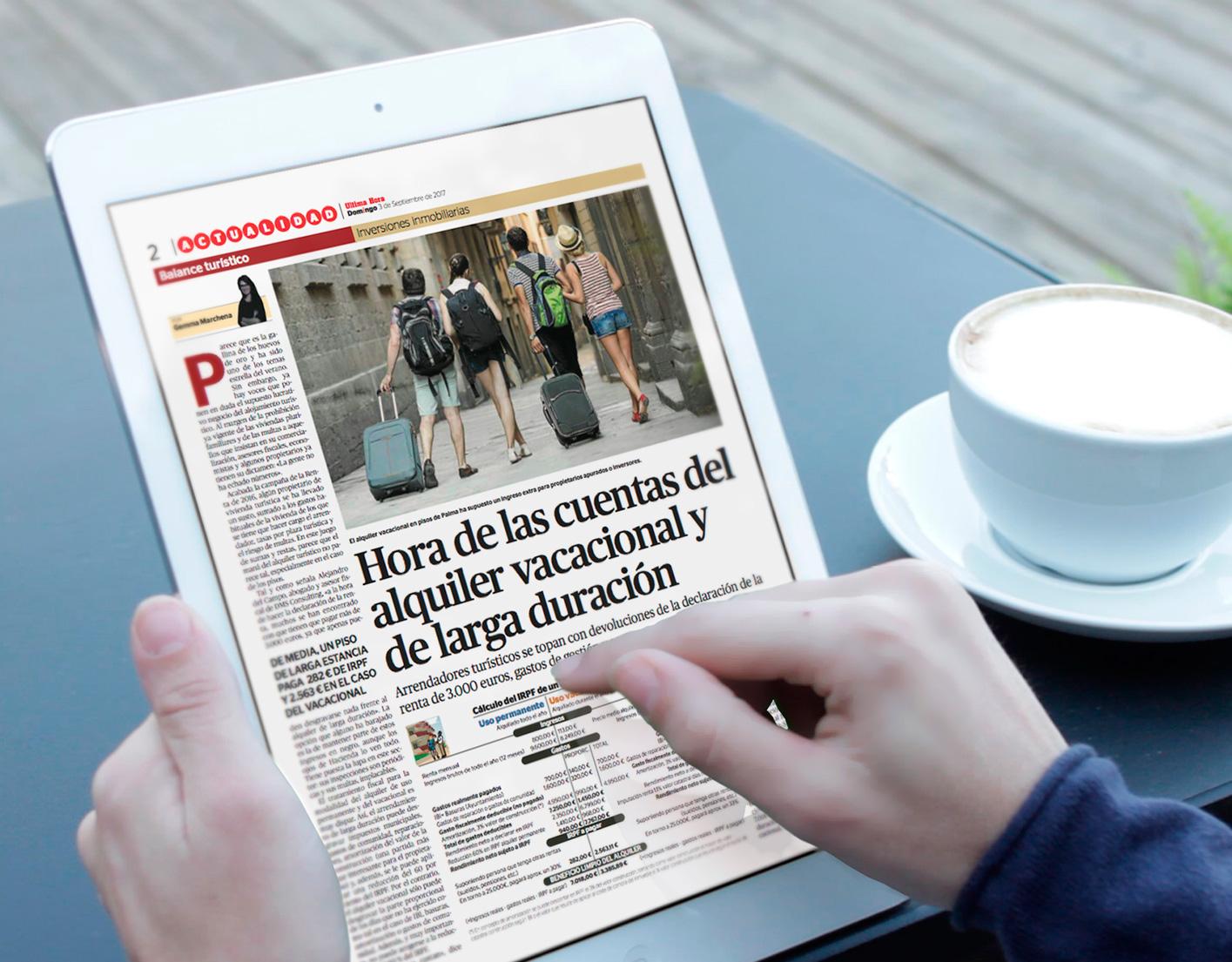 Alejandro del Campo y DMS consultados por Diario de Mallorca sobre la fiscalidad del alquiler vacacional.