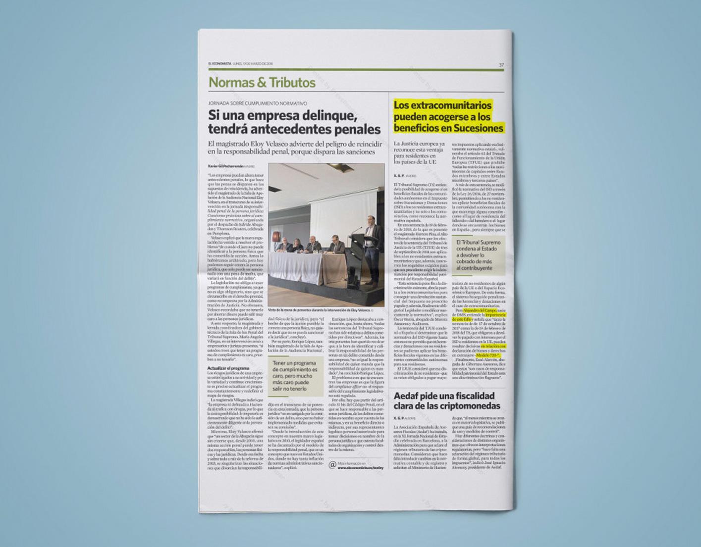 Alejandro del Campo opina en El Economista sobre la sentencia que reconoce los beneficios en Sucesiones a extracomunitarios