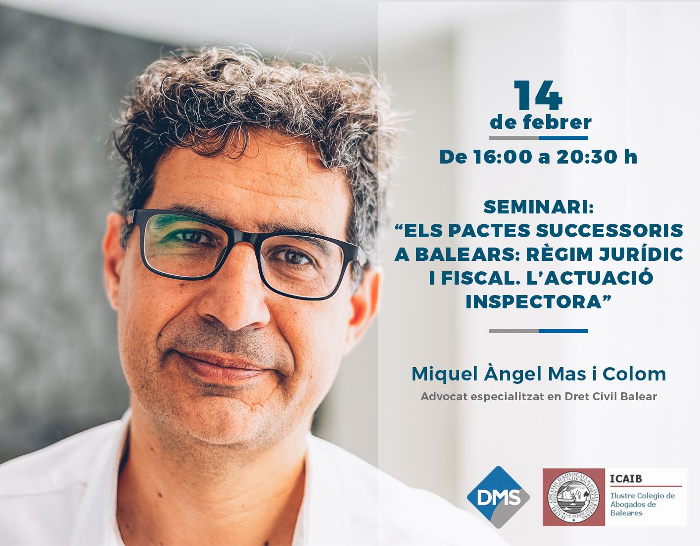 Miquel Àngel Mas participa en el seminari sobre els Pactes Successoris