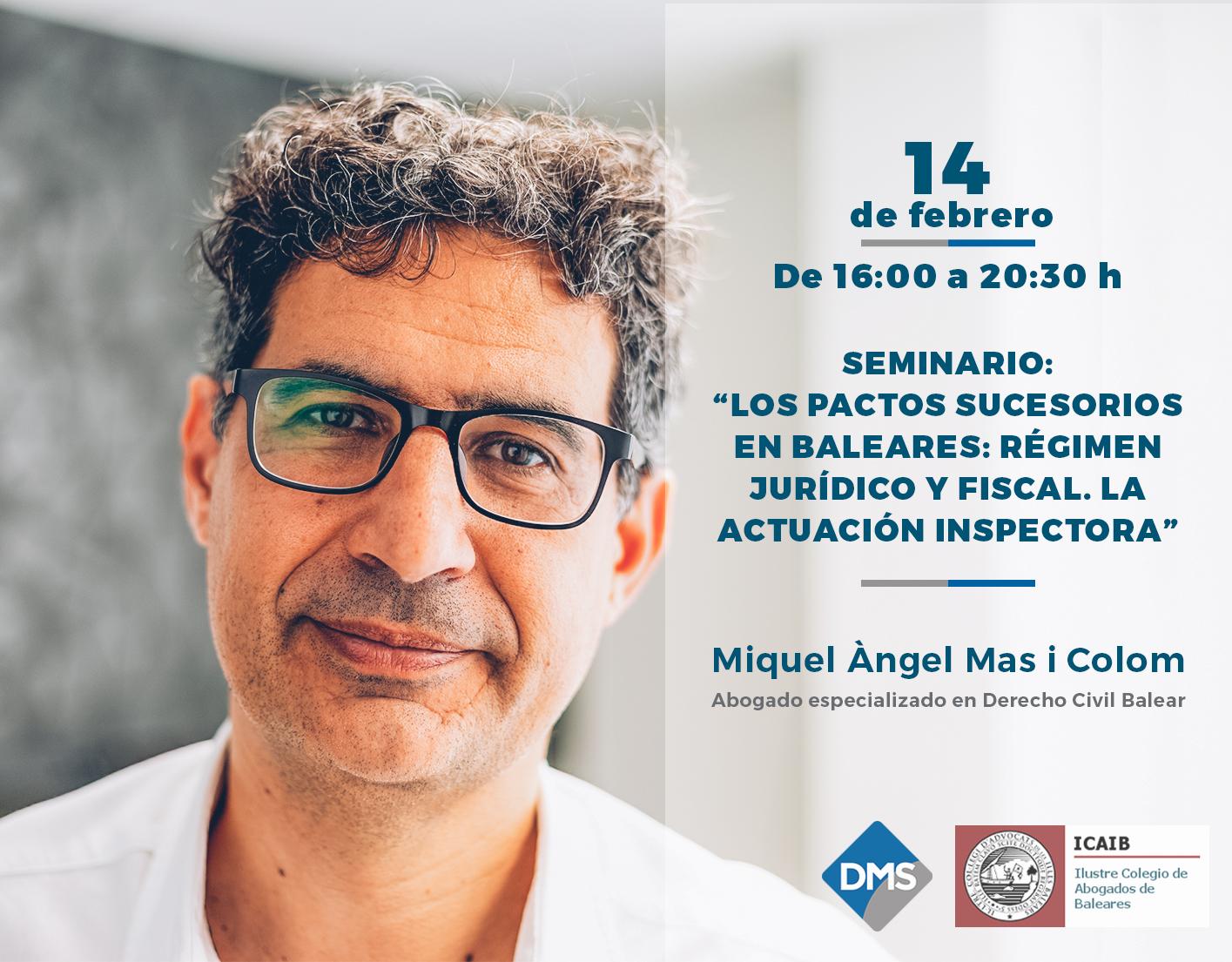Miquel Àngel Mas participa en el seminario sobre los Pactos Sucesorios