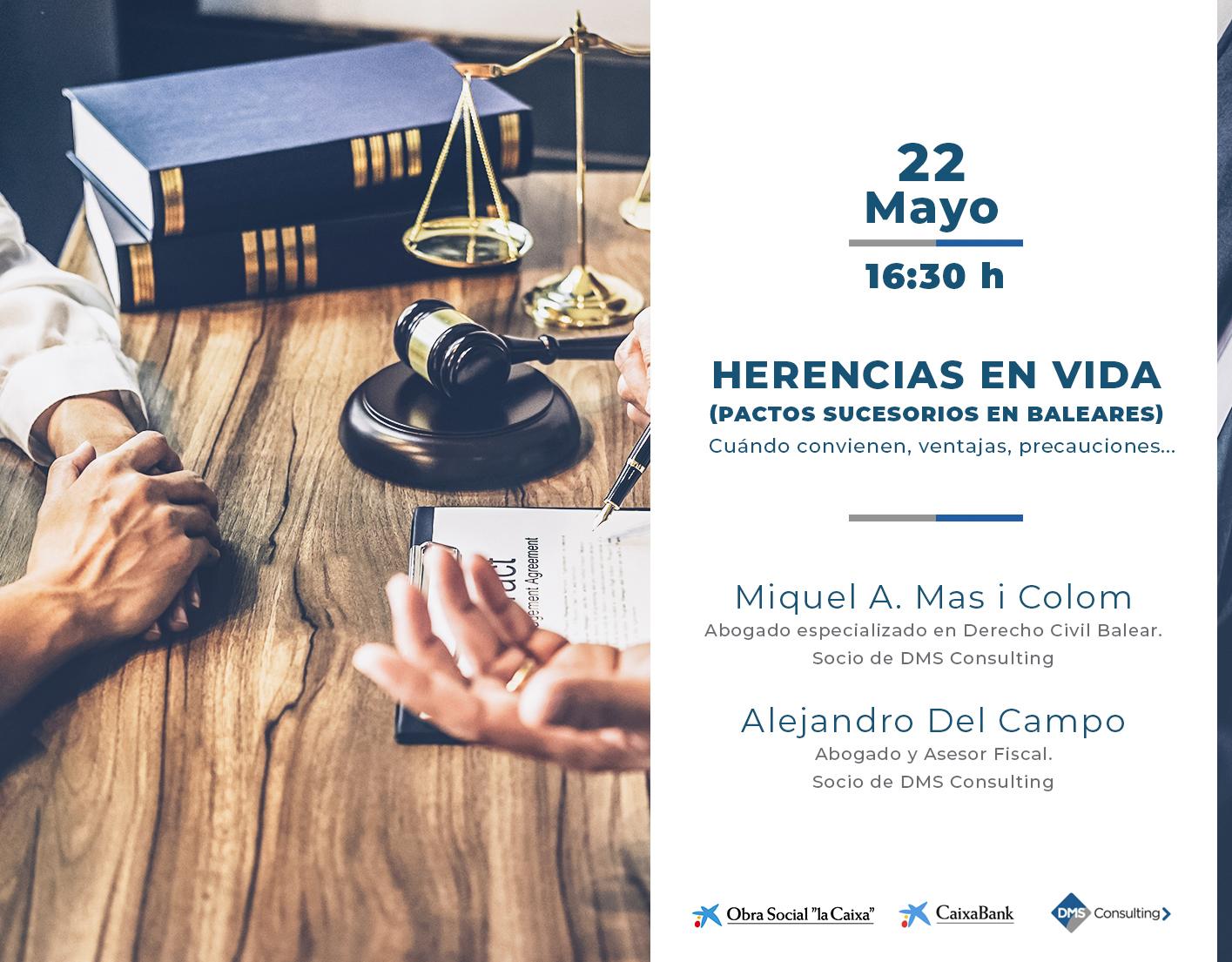 """DMS ofrece la conferencia """"Herencias en vida""""  en CaixaForum Palma"""