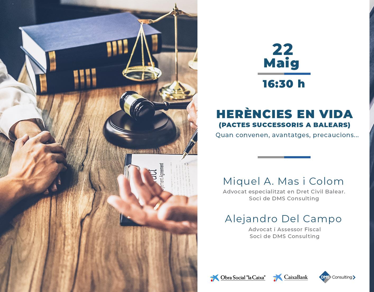 """DMS ofereix la conferencia """"Herències en vida"""" a CaixaForum de Palma"""