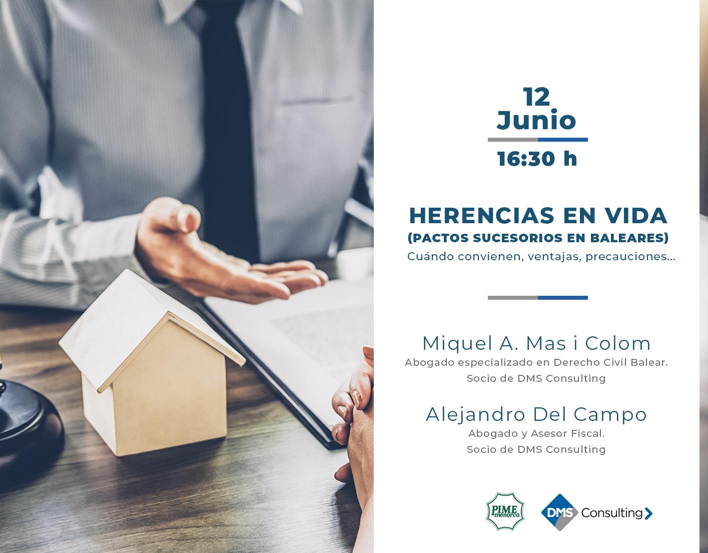 """DMS ofrece en Menorca la conferencia """"Herencias en vida"""""""
