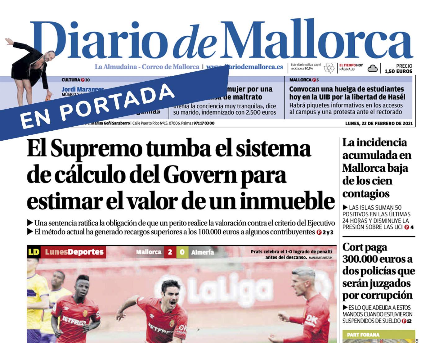 Alejandro Del Campo citado en Diario De Mallorca en noticia de portada: El Supremo tumba el sistema de cálculo del Govern por el valor del inmueble.