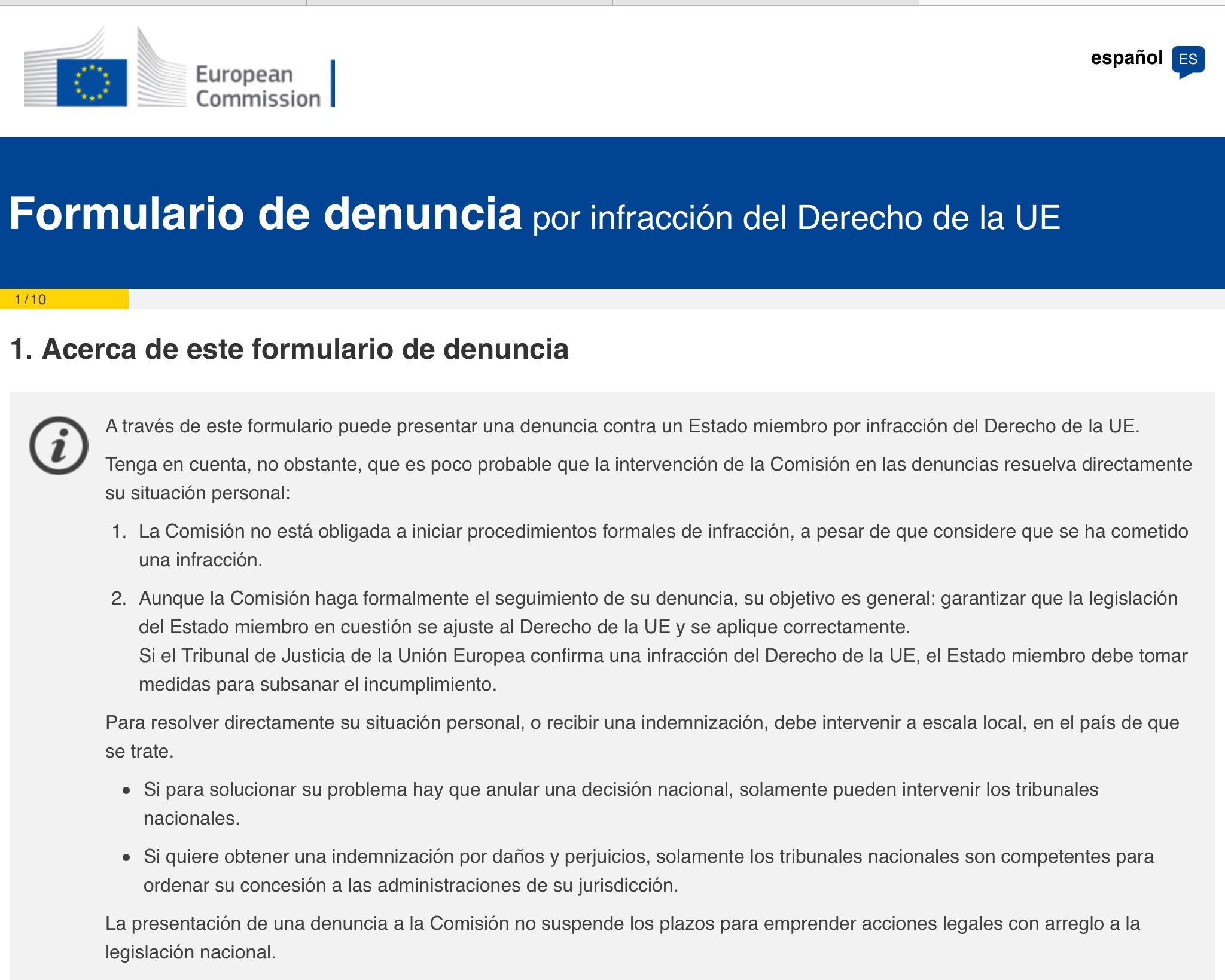MODELO DENUNCIA ANTE COMISIÓN EUROPEA CONTRA DISCRIMINACIÓN EXTRACOMUNITARIOS QUE ALQUILAN INMUEBLES EN ESPAÑA (en Impuesto Renta No Residentes)