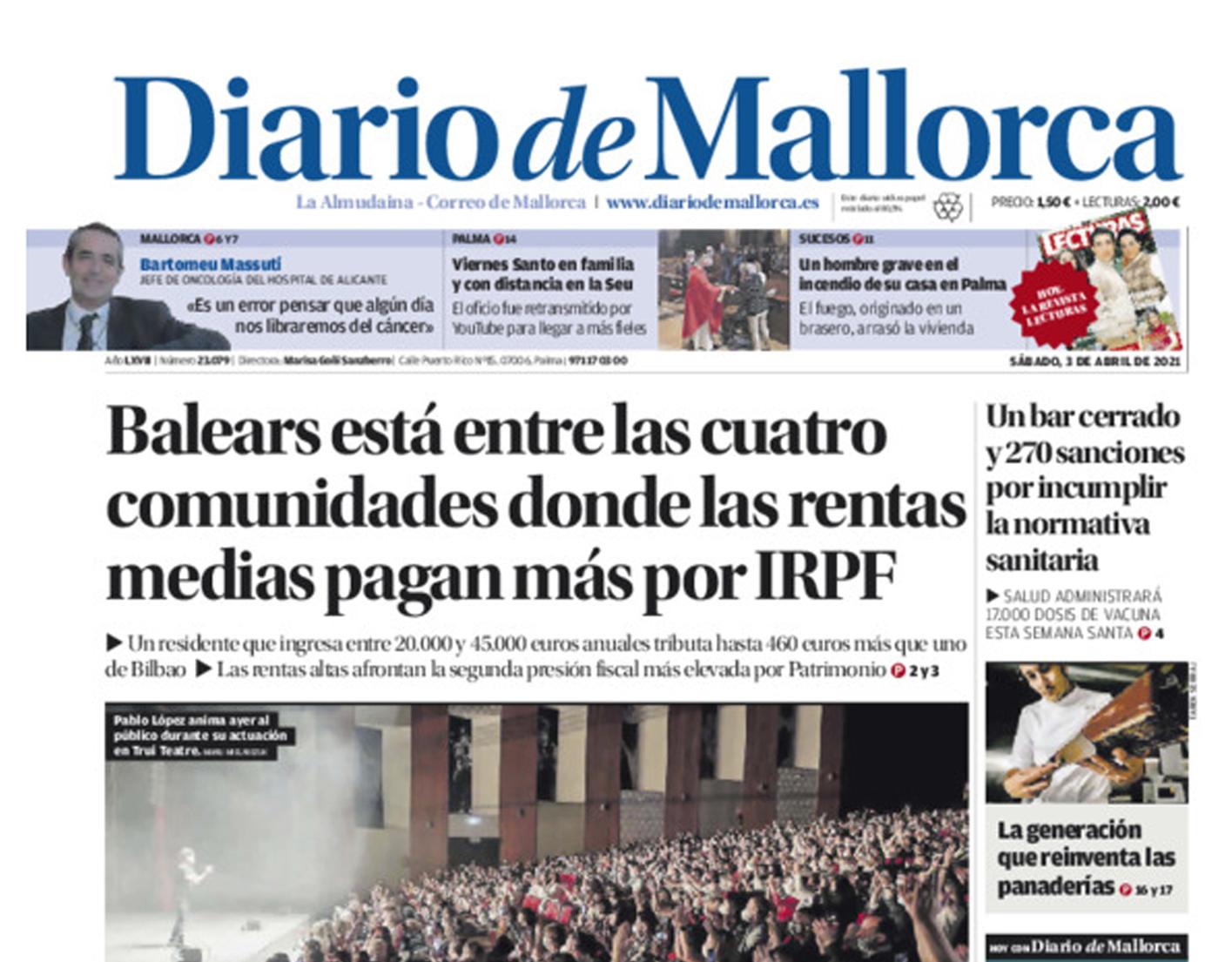 Alejandro Del Campo opina, en noticia de portada, sobre el «infierno fiscal» en el que se ha convertido Baleares, al menos por el Impuesto de Patrimonio