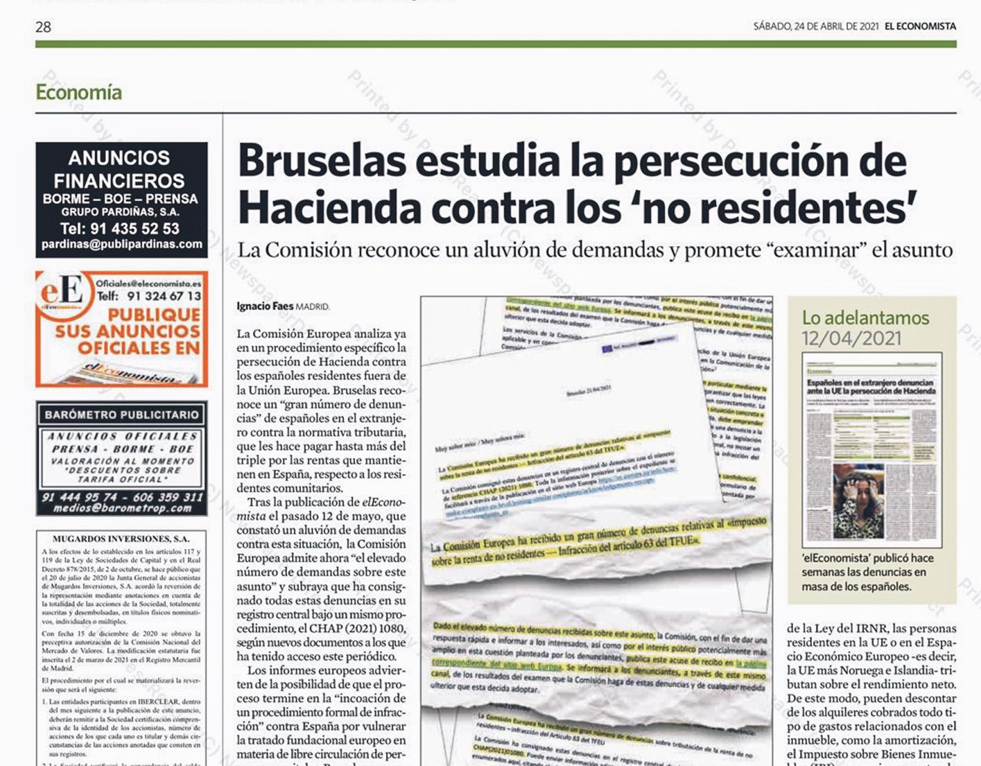 Alejandro del Campo citado en El Economista por el aluvión de denuncias de españoles en el extranjero contra la persecución de Hacienda