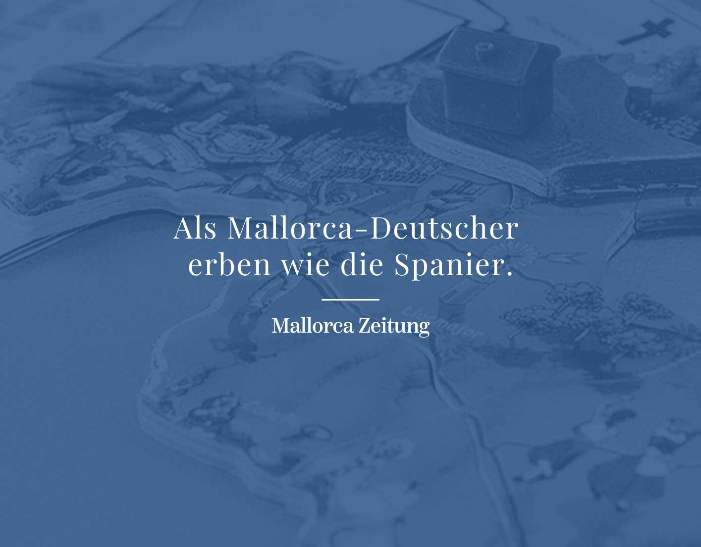 Nachfolgevereinbarungen für ausländische Einwohner der Balearen . Informationen in der Mallorca- Zeitung, die uns zitiert