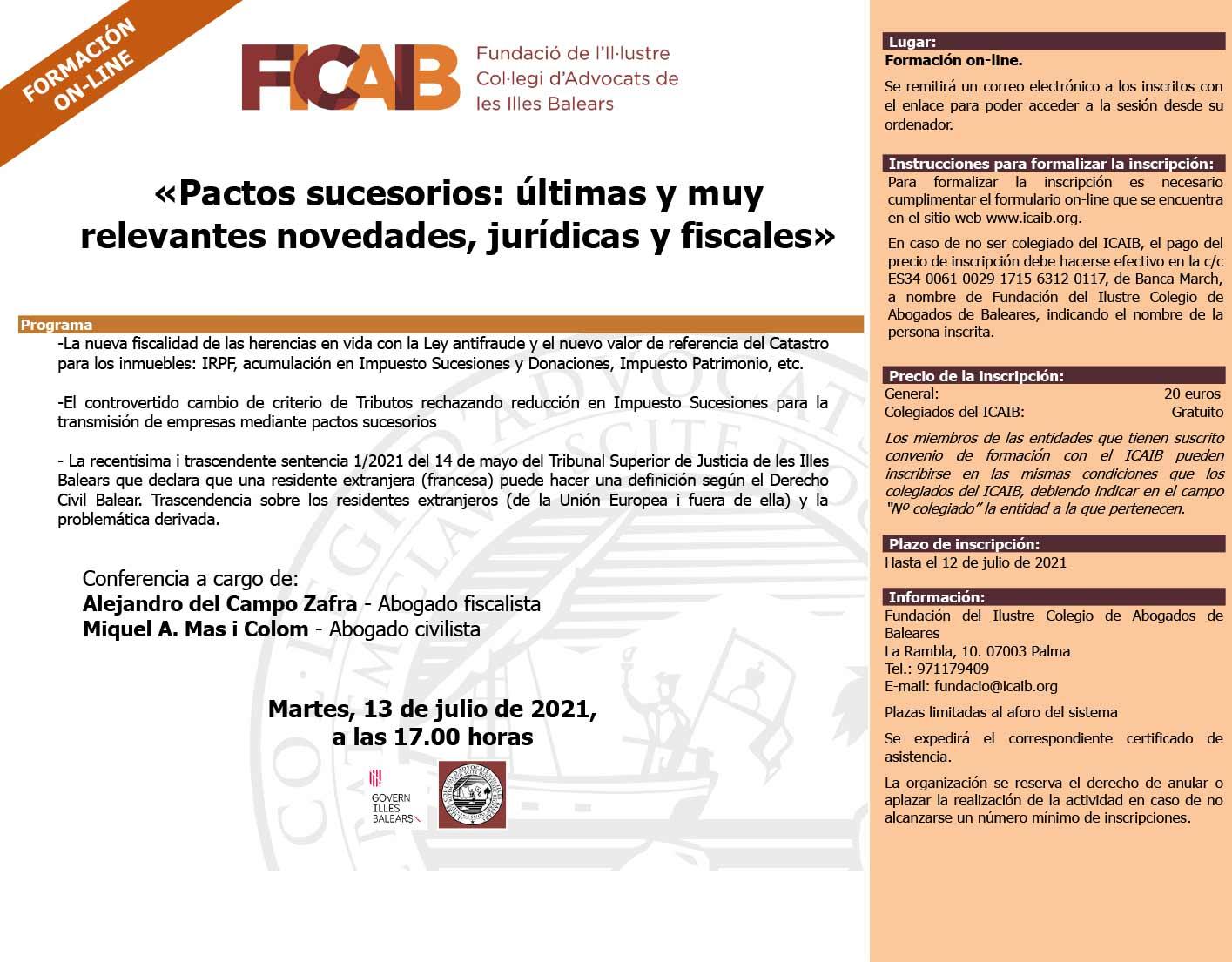 Conferencia de Miquel A. Mas y Alejandro del Campo en ICAIB: «Pactos sucesorios: Últimas y muy relevantes novedades jurídicas y fiscales»