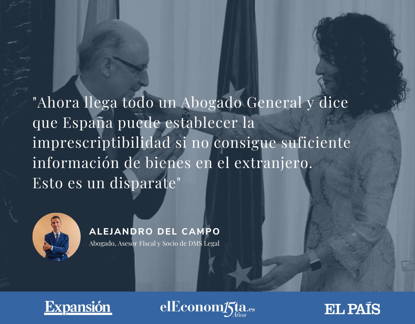 Alejandro del Campo citado en varios diarios: El Abogado General no aclara si el Modelo 720 es legal